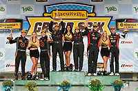 IMSA Continental Tire SportsCar Challenge<br /> Biscuitville Grand Prix<br /> Virginia International Raceway, Alton, VA USA<br /> Saturday 26 August 2017<br /> 44, Nissan, Altima, ST, Sarah Cattaneo, Owen Trinkler, 84, BMW, BMW 328i, James Clay, Tyler Cooke, 75, Audi, Audi S3, Roy Block, Pierre Kleinubing, celebrate on the podium in victory lane<br /> World Copyright: Scott R LePage<br /> LAT Images
