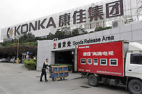 Goods Release Area of Konka Group Co. Ltd. in Shenzhen, China. Konka is a Sino-foreign public share-hold enterprise, one of the China's 100 Best Electronic Enterprises, produces TV sets, mobile phones and home electric appliances..29 Mar 2005