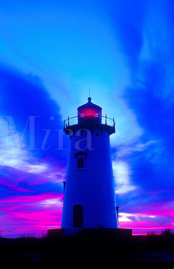 Scenic view of a lighthouse in moody, pre-dawn light. Edgarton Light, Martha's Vineyard, Massachusetts.