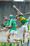 Padraig O'Grady Ballyduff in action against Michael Conway Lixnaw in the Senior County Hurling Final in Austin Stack Park on Sunday