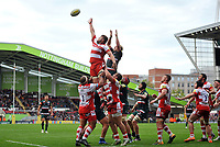 Ed Slater of Gloucester Rugby looks to win the ball at a lineout. Aviva Premiership match, between Leicester Tigers and Gloucester Rugby on September 16, 2017 at Welford Road in Leicester, England. Photo by: Patrick Khachfe / JMP