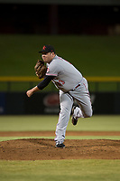 Scottsdale Scorpions relief pitcher Ty Boyles (43), of the Cincinnati Reds organization, follows through on his delivery during an Arizona Fall League game against the Mesa Solar Sox at Sloan Park on October 10, 2018 in Mesa, Arizona. Scottsdale defeated Mesa 10-3. (Zachary Lucy/Four Seam Images)