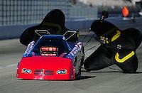 Feb. 10, 2012; Pomona, CA, USA; NHRA funny car driver Gary Densham during qualifying at the Winternationals at Auto Club Raceway at Pomona. Mandatory Credit: Mark J. Rebilas-