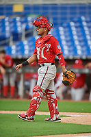 Washington Nationals catcher Wilmer Perez (18) during a Florida Instructional League game against the Miami Marlins on September 26, 2018 at the Marlins Park in Miami, Florida.  (Mike Janes/Four Seam Images)