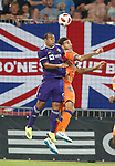 16.08.18 FK Maribor v Rangers: Connor Goldson and Marcos Tavares