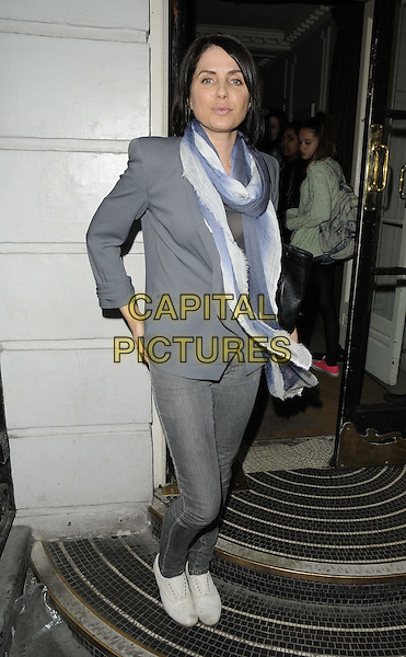 Sadie Frost.The Claire's e-commerce site launch party, Kettners bar & restaurant, London, England..April 24th, 2013.full length grey gray blazer white scarf jeans denim tights blue.CAP/CAN.©Can Nguyen/Capital Pictures.