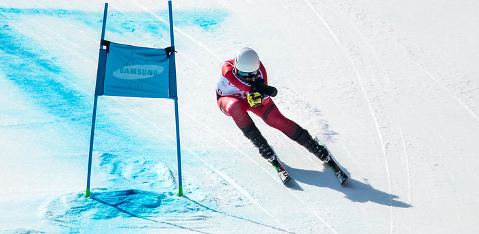 PyeongChang 11/3/2018 - Kirk Schornstein skis in the men's standing super-G at the Jeongseon Alpine Centre during the 2018 Winter Paralympic Games in Pyeongchang, Korea. Photo: Dave Holland/Canadian Paralympic Committee