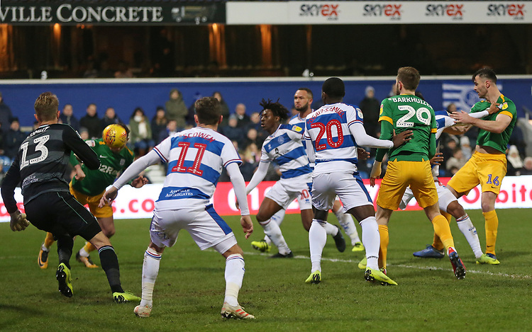 Preston North End's Alan Browne scores his side's third goal <br /> <br /> Photographer Rob Newell/CameraSport<br /> <br /> The EFL Sky Bet Championship - Queens Park Rangers v Preston North End - Saturday 19 January 2019 - Loftus Road - London<br /> <br /> World Copyright © 2019 CameraSport. All rights reserved. 43 Linden Ave. Countesthorpe. Leicester. England. LE8 5PG - Tel: +44 (0) 116 277 4147 - admin@camerasport.com - www.camerasport.com