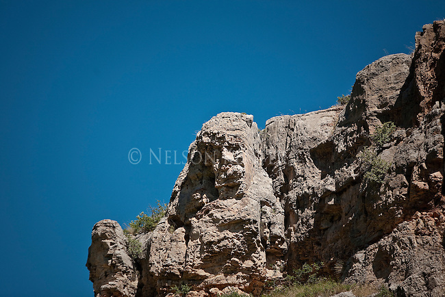 A face in the stone cliffs above the Smith River in Montana