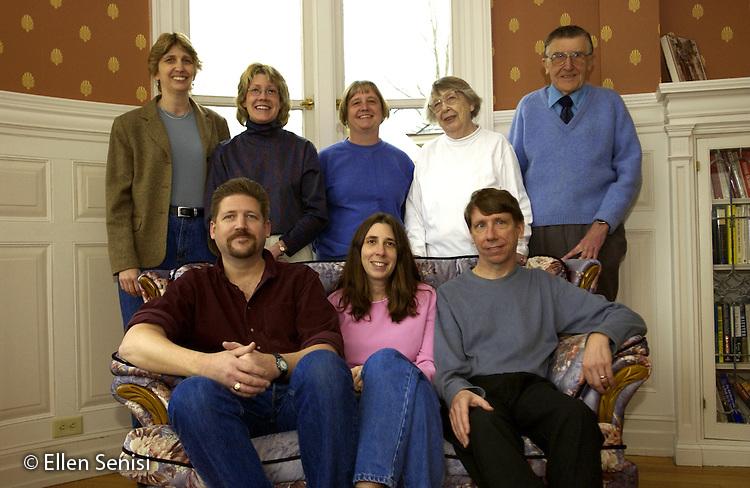 MR / Little Falls, NY. Family portrait of parents with their middle-aged children..Mother (79,retired teacher); Father (80, retired electrician).Daughters: 51,49, 42, 40; Sons: 47, 45.{Also available is portrait of siblings when aged 1 - 11)..MR: FM.© Ellen B. Senisi