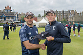 Cricket Scotland - Scotland V Namibia One Day International match at Grange CC today (Thur) - this match is the first of two ODI matches this week against Zimbabwe - a 50th cap for Michael Leask, presented by team captain Kyle Coetzer - picture by Donald MacLeod - 15.06.2017 - 07702 319 738 - clanmacleod@btinternet.com - www.donald-macleod.com
