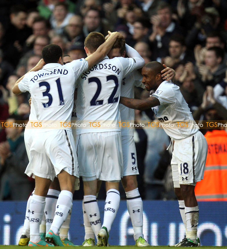 Jan Vertonghen of Tottenham Hotspur is congratulated for scoring the opening goal - Tottenham vs Swansea City at the White Hart Lane Stadium  - 16/12/12 - MANDATORY CREDIT: Dave Simpson/TGSPHOTO - Self billing applies where appropriate - 0845 094 6026 - contact@tgsphoto.co.uk - NO UNPAID USE.