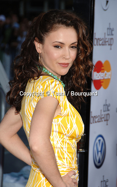 Alyssa Milano arriving at The BREAK UP Premiere at the Westwood Village Theatre in Los Angeles. May 22, 2006.