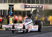 May 15, 2015; Commerce, GA, USA; NHRA top fuel driver Richie Crampton during qualifying for the Southern Nationals at Atlanta Dragway. Mandatory Credit: Mark J. Rebilas-USA TODAY Sports