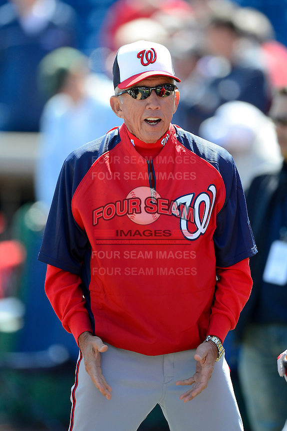 Washington Nationals manager Davey Johnson #5 during practice before a Spring Training game against the Philadelphia Phillies at Bright House Field on March 6, 2013 in Clearwater, Florida.  Philadelphia defeated Washington 6-3.  (Mike Janes/Four Seam Images)