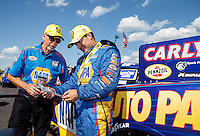 Jun 6, 2016; Epping , NH, USA; NHRA funny car driver Ron Capps (right) celebrates with crew chief Rahn Tobler after winning the New England Nationals at New England Dragway. Mandatory Credit: Mark J. Rebilas-USA TODAY Sports