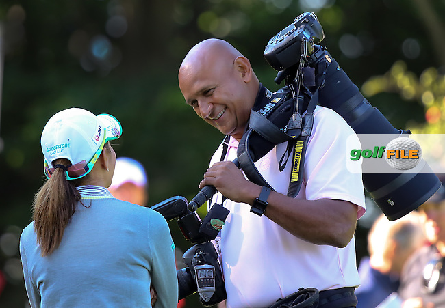 21 JUL 15 Tour photographer Gabe Roux with Ai Miyazato during the Wednesday Pro Am Round of The Meijer LPGA Classic at The Blythefield Country Club in Belmont, Michigan. (photo credit : kenneth e. dennis/kendennisphoto.com)