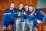 Na Gaeil footballers Kieran Dineen, Jamie Lohan, Dan Goggin and Dan O'Connor celebrating their All Ireland Junior championship win in the clubhouse on Saturday night.