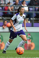 20190813 - ANDERLECHT, BELGIUM : Anderlecht's Laura Deneve pictured during the female soccer game between the Belgian RSCA Ladies – Royal Sporting Club Anderlecht Dames  and the Northern Irish Linfield ladies FC , the third and final game for both teams in the Uefa Womens Champions League Qualifying round in group 8 , Tuesday 13 th August 2019 at the Lotto Park Stadium in Anderlecht  , Belgium  .  PHOTO SPORTPIX.BE   DIRK VUYLSTEKE