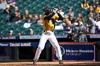 Brandt Belk (21) of the Missouri Tigers at bat against the Oklahoma Sooners in game four of the 2020 Shriners Hospitals for Children College Classic at Minute Maid Park on February 29, 2020 in Houston, Texas. The Tigers defeated the Sooners 8-7. (Brian Westerholt/Four Seam Images)