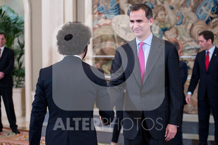 King Felipe VI of Spain receive in audience to the Executive Committee of the Spanish Confederation of Young entrepreneurs associations at Zarzuela Palace in Madrid.  May 11, 2016. (ALTERPHOTOS/BorjaB.Hojas)