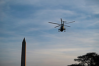 Marine One carries United States President Donald J. Trump as he departs the White House on Thursday, January 9th, 2020 in Washington, D.C. Trump will attend a campaign rally in Toledo, Ohio before retuning to Washington, D.C. tonight.  <br /> Credit: Alex Edelman / Pool via CNP/AdMedia