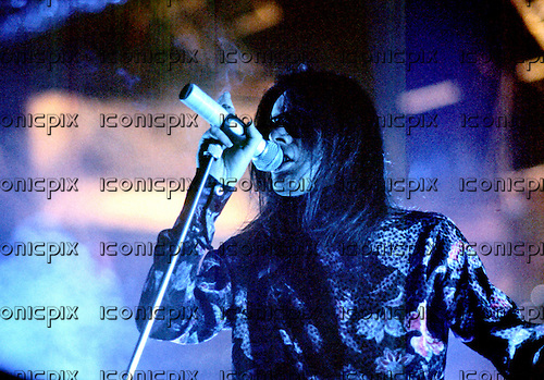 SISTERS OF MERCY - vocalist Andrew Eldridtch performing live at the Lyceum in London UK - 31 Oct 1984.  Photo: IconicPix