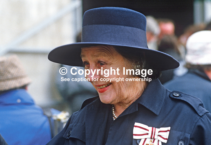 Dowager Duchess of Westminster, at a Riding for the Disabled event in Co Fermanagh attended by the Princess Royal, Princess Anne, during a royal visit to N Ireland, May 1985. 19850503DW1..Copyright Image from Victor Patterson, 54 Dorchester Park, Belfast, UK, BT9 6RJ..Tel: +44 28 9066 1296.Mob: +44 7802 353836.Voicemail +44 20 8816 7153.Skype: victorpattersonbelfast.Email: victorpatterson@me.com.Email: victorpatterson@ireland.com (back-up)..IMPORTANT: If you wish to use this image or any other of my images please go to www.victorpatterson.com and click on the Terms & Conditions. Then contact me by email or phone with the reference number(s) of the image(s) concerned.