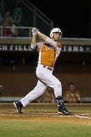 Justin Bellinger (23) of the Asheboro Copperheads follows through on his swing against the High Point-Thomasville HiToms at Finch Field on June 12, 2015 in Thomasville, North Carolina.  The HiToms defeated the Copperheads 12-3. (Brian Westerholt/Four Seam Images)