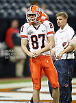Illinois Fighting Illini punter Anthony Santella (87) practicing before the 2010 Texas  Bowl football game between the Illinois  Fighting Illini and the Baylor Bears at the Reliant Stadium in Houston, Tx. Illinois defeats Baylor 38 to 14....