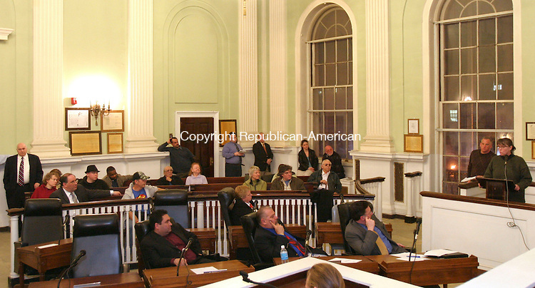 WATERBURY, CT, 03/26/07- 032607BZ07- Edith Reynolds, owner of the John Bale Book Co., far right, addresses the Board of Aldermen during a public hearing about the future of city hall Monday night.<br /> Jamison C. Bazinet Republican-American