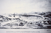 Harbor and City of Monterey, CA 1842--drawing by Thomas O. Larkin.