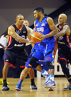 Dion Prewster in action during the national basketball league match between Wellington Saints and Canterbury Rams at TSB Bank Arena, Wellington, New Zealand on Monday, 6 April 2015. Photo: Dave Lintott / lintottphoto.co.nz