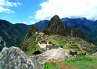 Landscape of the ruins of the mountaintop Incan village of Machu Pichu. Peru.
