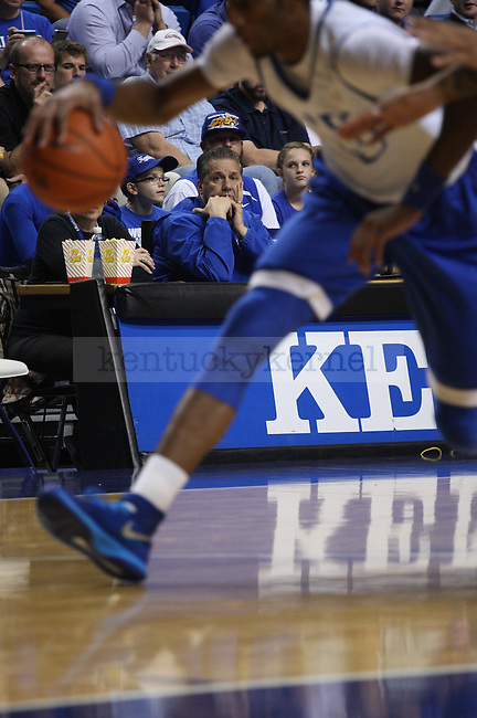Head coach John Calipari watches his team play during the first half of the Blue-White Scrimmage at Rupp Arena on Monday, October 27, 2014 in Lexington, Ky. Photo by Adam Pennavaria | Staff