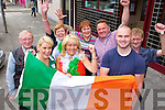 Sharon Lynch's family cheer on Ireland in Tom Mccarthy's bar Castleisland on Wednesday l-r: Mike Barry, Kerry Lynch, Sheila Courtney, Ellen Lynch, Marie O'Connell, Tom Lynch, Barry Lynch and Denis Pele Barry