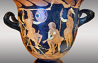 Erotic attica style krater with red figures made in Saticula; present day Sant'Agata de' Goti produczione capuana; attributed to Painter Parrish around 350 B.C, inv 81926,  Secret Museum or Secret Cabinet, Naples National Archaeological Museum , art background