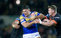 Picture by Allan McKenzie/SWpix.com - 23/03/2018 - Rugby League - Betfred Super League - Leeds Rhinos v Castleford Tigers - Elland Road, Leeds, England - Leeds's Ryan Hall is tackled by Castleford's Adam Milner.
