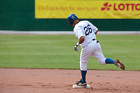30 july 2010: Jairo Gizzi of Italy runs the bases after hitting an home run during Italy 9-2 win over France, in day 6 of the 2010 European Championship Seniors, at TV Cannstatt ballpark, in Stuttgart, Germany.