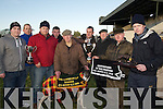 "KINGDOM: ""SANDY SEA"" the winning dog of the Kingdom Cup with his nominators and sponsors after he won the Kingdom Cup on Sunday at Ballybeggan Coursing. L-r: Barry Connolly, Liam Goggin, John O'Shea, John O'Rourke, Pa Fitzgerald, Eoin and Denis Brassil, Liam Brassil, Billy O'Toole and Ciara?n O'Brien... ...."