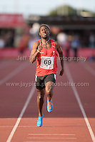 International athletics at Cardiff International stadium, Cardiff, South Wales - Tuesday 15th July 2014<br /> <br /> Adebowale Ademuyemo of City of Manchester AAC wins the Men's 400m final 'B' race. <br /> <br /> <br /> Photo by Jeff Thomas Photography