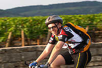 cyclist pommard cote de beaune burgundy france