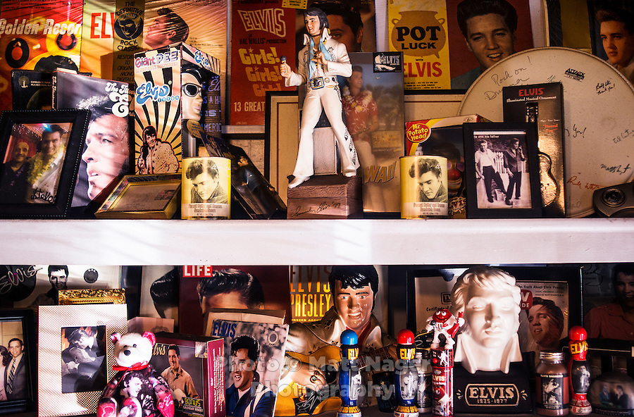 Elvis memorabilia at Nick's Cafe in Golden, Colorado, Tuesday, January 6, 2015. Owner Nick Andurlakis once served Elvis a peanut butter, jelly and bacon sandwich.<br /> <br /> Photo by Matt Nager