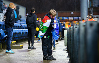 A young Blackburn Rovers fan ties a flag around himself<br /> <br /> Photographer Alex Dodd/CameraSport<br /> <br /> The EFL Sky Bet Championship - Blackburn Rovers v Hull City - Saturday 26th January 2019 - Ewood Park - Blackburn<br /> <br /> World Copyright © 2019 CameraSport. All rights reserved. 43 Linden Ave. Countesthorpe. Leicester. England. LE8 5PG - Tel: +44 (0) 116 277 4147 - admin@camerasport.com - www.camerasport.com