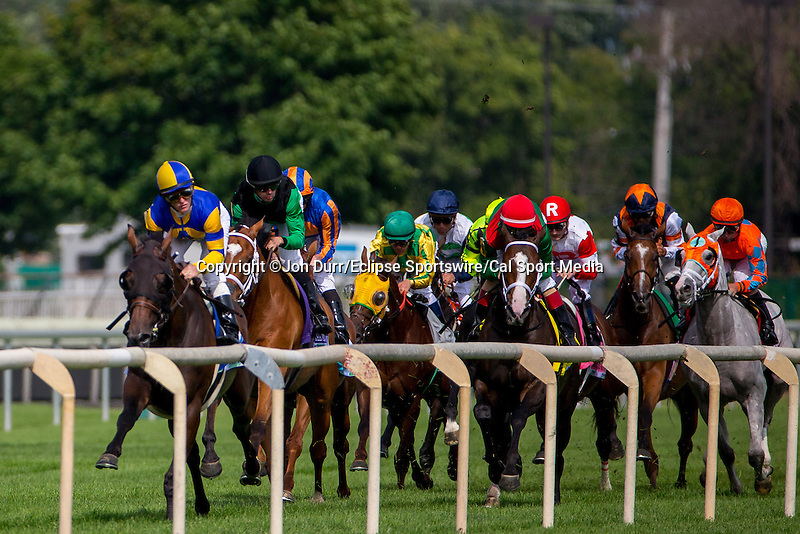 AUG 16, 2014: The field makes its first pass in the third running of the American St. Leger at Arlington International Race Track in Arlington Heights, IL. Jon Durr/ESW/Cal Sport Media