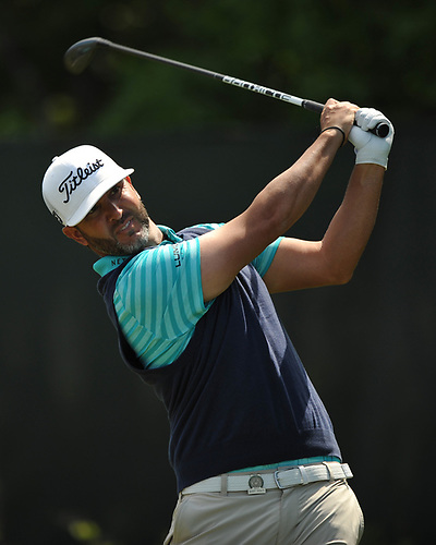 Scott Piercy tees off from the 2nd Hole during a practice round prior to the U.S. Open Championship at Shinnecock Hills Golf Club in Southampton on Monday, June 11, 2018.