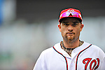 8 September 2011: Washington Nationals outfielder Jonny Gomes returns to the dugout during a game against the Los Angeles Dodgers at Nationals Park in Washington, DC. The Dodgers defeated the Nationals 7-4 to take the third game of their 4-game series. Mandatory Credit: Ed Wolfstein Photo
