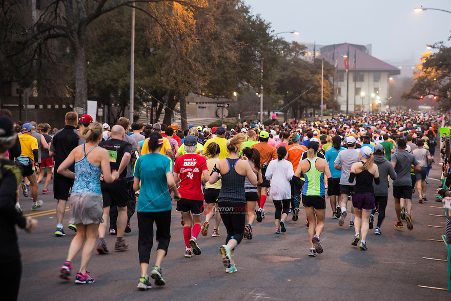 """The Austin Marathon is an annual marathon held in Austin, Texas, founded in 1991. The Austin Half Marathon and Paramount 5K are also part of the event.<br /> <br /> The 2014 race started on Congress Avenue, just a few blocks north of the Texas State Capitol, and touches well-known Austin landmarks and areas, such as downtown, the Colorado River, the 78704 zip code, Hyde Park, and the University of Texas at Austin campus, passing by Memorial Stadium. The race ends near where it begins on Congress Avenue.<br /> <br /> Befitting the city that prides itself on being """"The Music Capital of the World,"""" the Austin marathon includes performances by live bands and even a beer stop in the later stages of the race for marathoners who want to drown their pain or perhaps get a head start on celebrating.<br /> <br /> Along with the Dallas White Rock Marathon and the Houston Marathon, the Austin Marathon forms the final leg of the Marathons of Texas, a series of winter marathons held approximately one month apart from each other from December through February in Texas."""