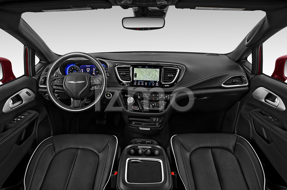 Stock photo of straight dashboard view of 2020 Chrysler Pacifica Limited 5 Door Minivan Dashboard
