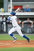 Jeison Guzman (13) of the Burlington Royals follows through on his swing against the Danville Braves at Burlington Athletic Stadium on August 12, 2017 in Burlington, North Carolina.  The Braves defeated the Royals 5-3.  (Brian Westerholt/Four Seam Images)